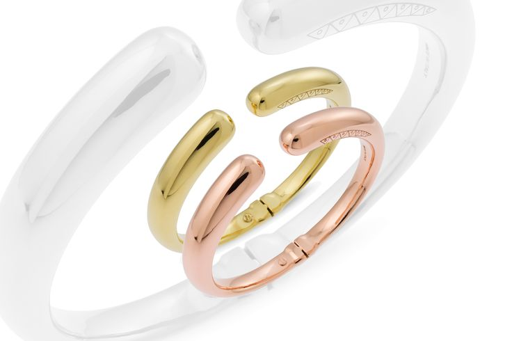composition of bracelets in Yellow gold and pink gold