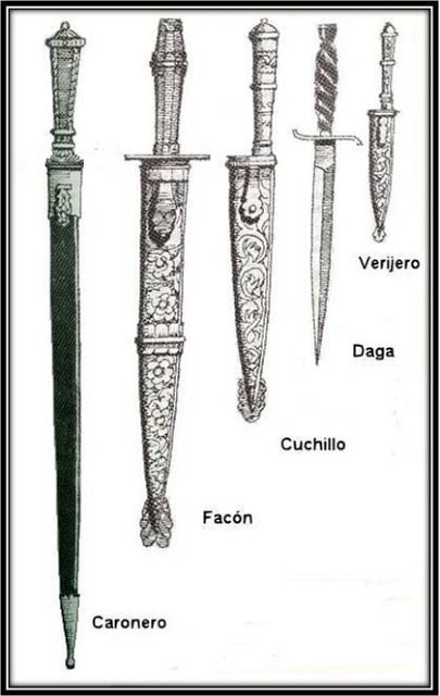 Esgrima Criolla (Argentina), armas