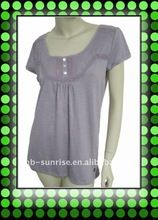 Women`s cotton polyester knitted tshirt with woven dart neck trim Best Seller follow this link http://shopingayo.space