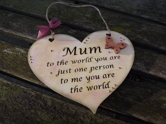 MUM..... wooden heart gift plaque. by KatijanesCreations on Etsy