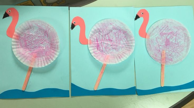 Pink is an extremely popular colour with our little ones so why not make a pink flamingo! You may need: Light blue construction paper Dark blue a4 paper Cupcake cases Pink a4 paper Craft sticks Goo…