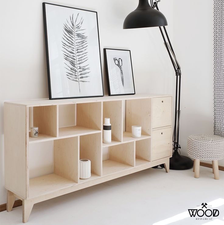 Scandinavian design by polish brand. Meet our cabinet FUZZLE.2 with drawers / Project and execution by Wood Republic / #design #interior #scandi #scandinavian #wood #wooden #plywood #solidwood #solid #furniture #modern #natural #minimalist #vintage #bookcase #drawer #drawers #bureau #chestofdrawers #cabinet #loft #console #hall