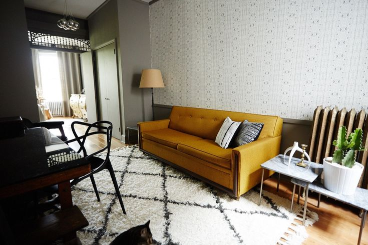 How To Make Your Place Look AWESOME #refinery29  http://www.refinery29.com/69347#slide-20   In a room of neutrals, go for one rich color.   I kept the palette basic but bold with high-contrasting neutrals, usually grays and whites. Neutrals are timeless and pack a lot of punch when applied strategically. This mustard sofa really adds dimension.