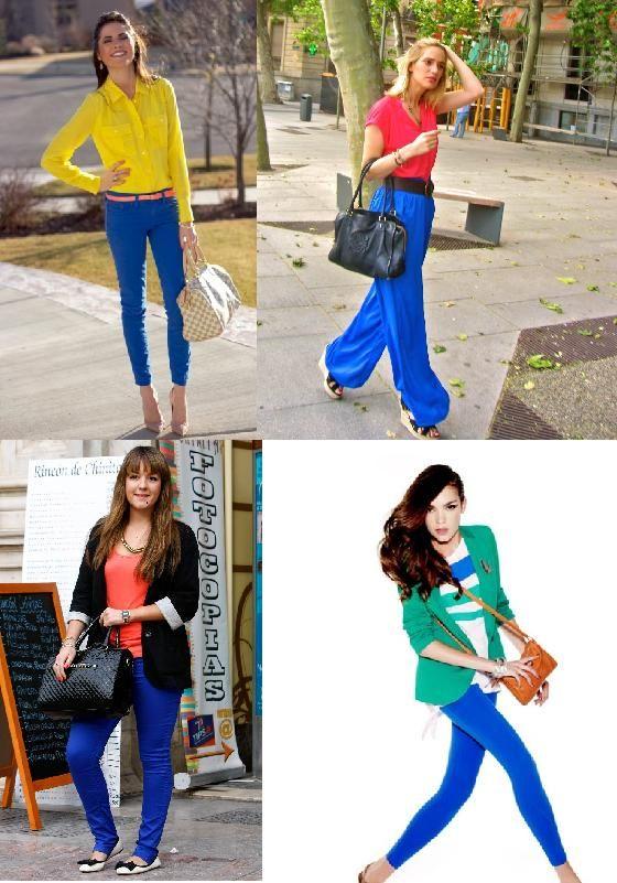 pantalon azul mujer combinaciones - Buscar con Google