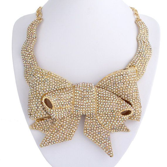 2014 New Bold Swarovski Crystal Necklace, Clear Butterfly Bow Gold Tone Bib Statement Necklace, Spring Holiday Necklace-188248364