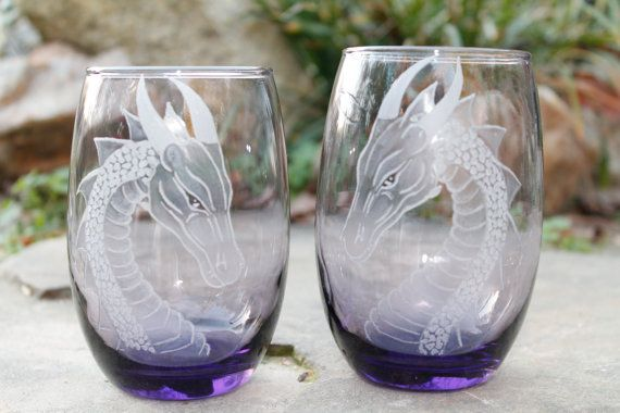 Purple Wine glasses Hand Engraved Stemless Purple Glass Set Bridesmaids Gift Personalized Amethyst glass set