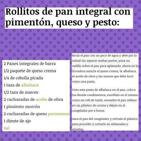 Rollitos de Pan Integral con pimentón, queso y pesto