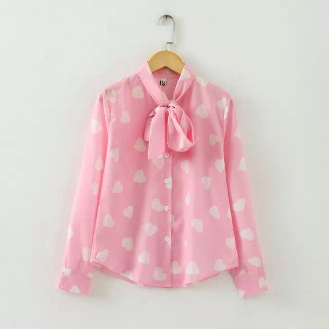 New 2016 runway design spring new cute women loving heart print pink black bow neck chiffon blouse shirt