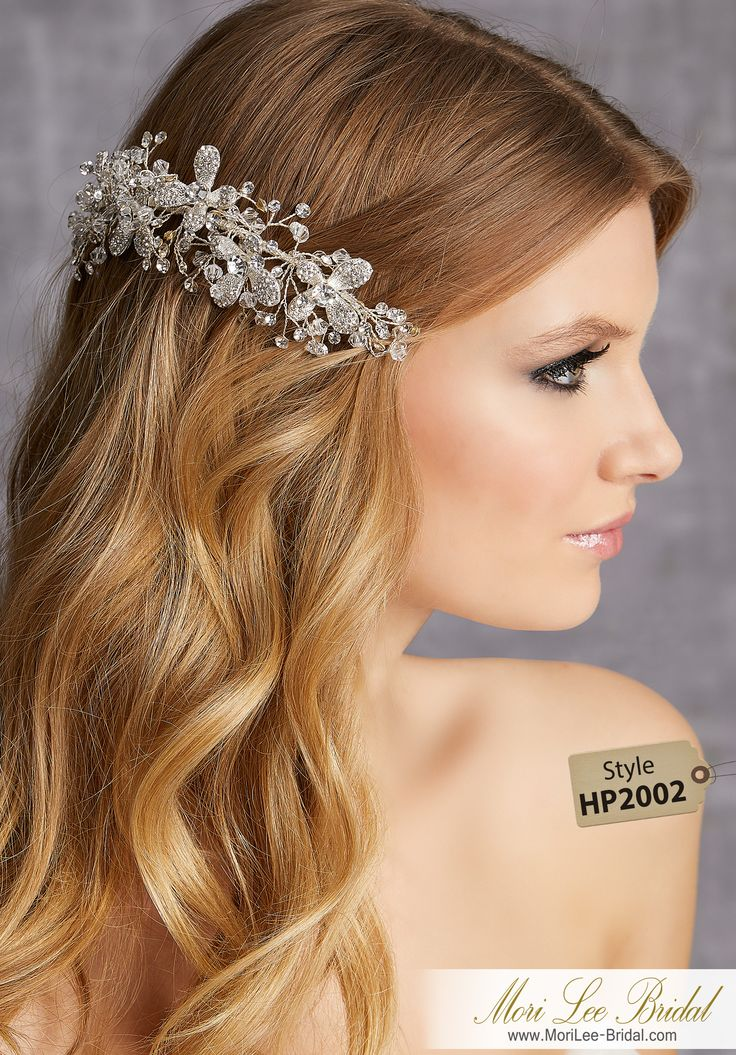 STYLE HP2002Crystal and Rhinestone Comb Accented with Crystal and Rhinestones SpraysAvailable in Silver