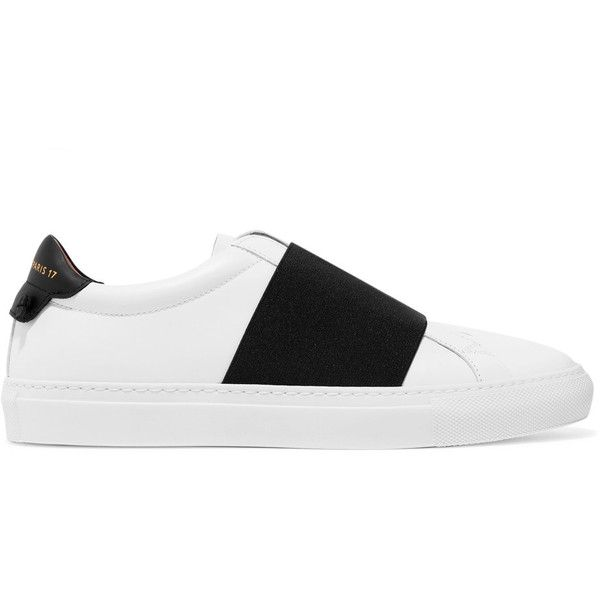 Givenchy Elastic-trimmed leather sneakers ($595) ❤ liked on Polyvore featuring shoes, sneakers, white, givenchy shoes, white trainers, leather shoes, leather sneakers and leather slip-on shoes
