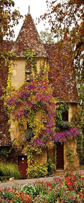 Charming flower-covered home in Burgundy, France • photo: John Galbo on FineArtAmerica