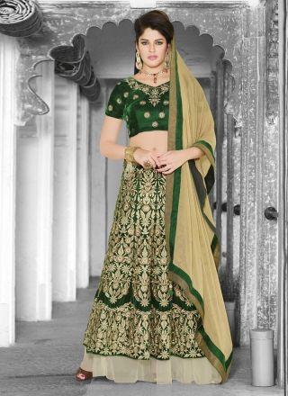 Green Velvet With Fancy Embroidery Work Lehenga Choli http://www.angelnx.com/Lehenga-Choli
