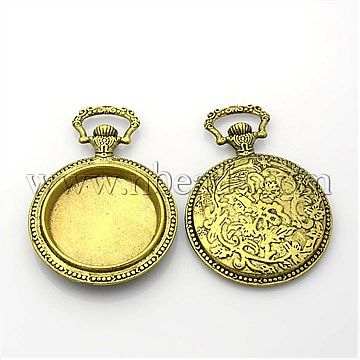 Flat Round Alloy Pendant Cabochon Settings, Nickel Free, Antique Bronze<P>Size: about 45mm wide, 64mm long, 7mm thick, hole: 8x15mm, tray: 32mm.<br/>Priced per 2 pcs