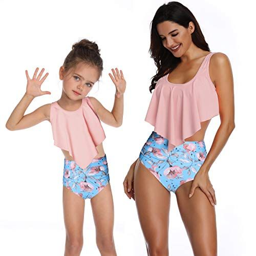Mother and Daughter Swimsuits Family Matching Bathing Suits Baby Girls 2 Pieces Bikini Set