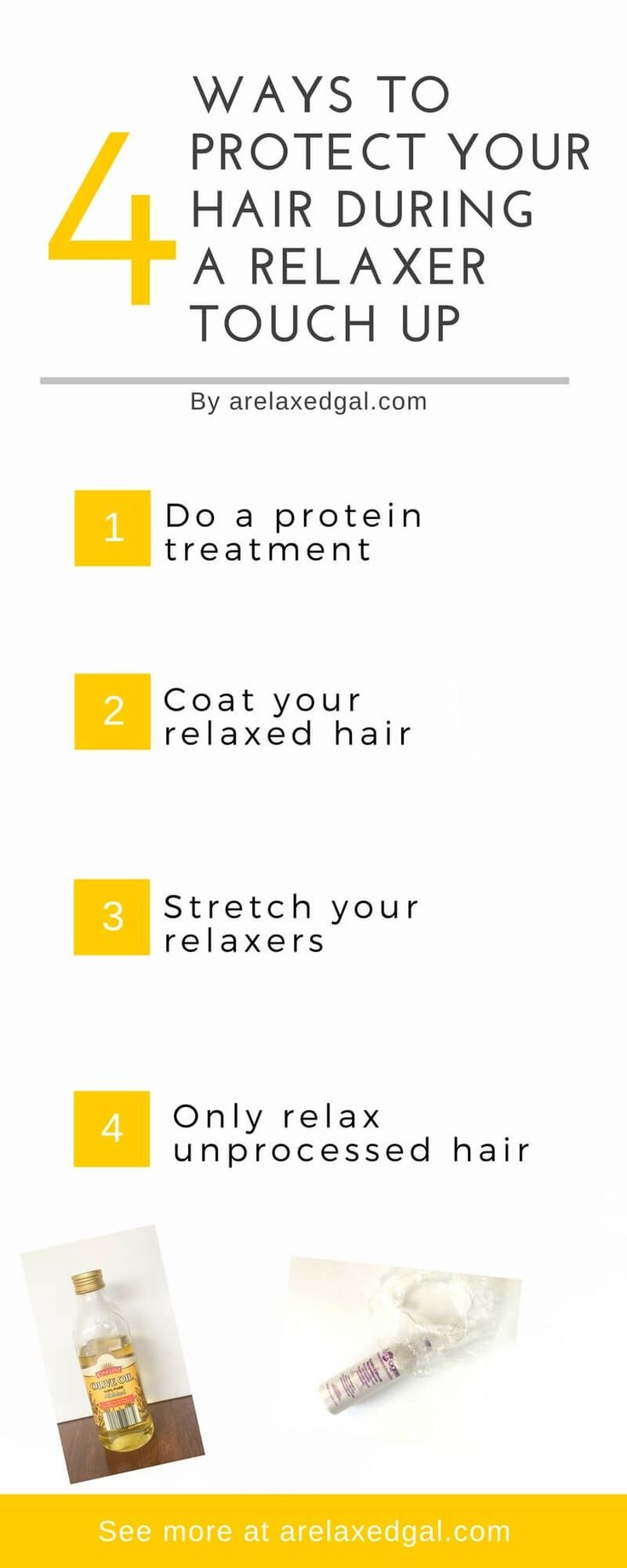 """4 things you can do to protect your hair from overlap and overprocessing during a relaxer touch up."