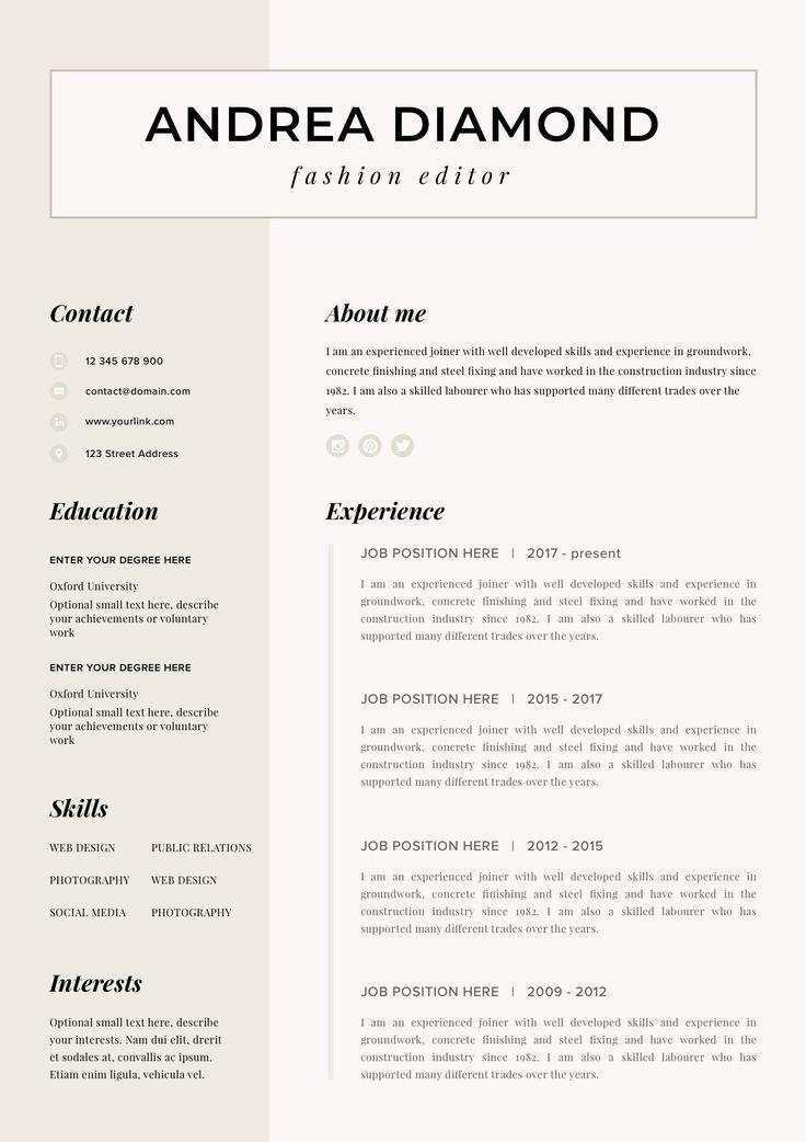 Resume Template Resume Cv Template Cv Design Curriculum Vitae Cv Instant Download Resume Resume Templates Cv Ottawa Resume Templates Resume Template Resume Cv