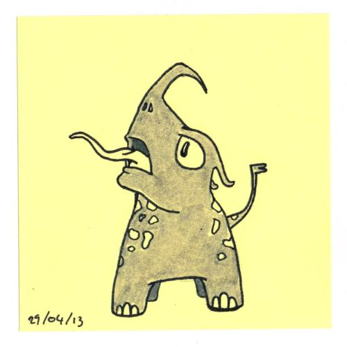 365 #daily #post-it #drawing of a little monster