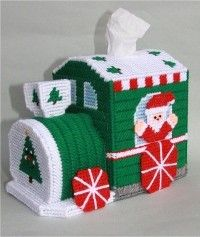 everything plastic canvas | Plastic Canvas-Christmas Train Tissue Topper Plastic-Canvas-Kits.Com