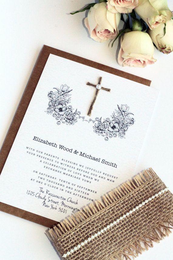 Rustic Christian Wedding Invitation Sets Burlap and