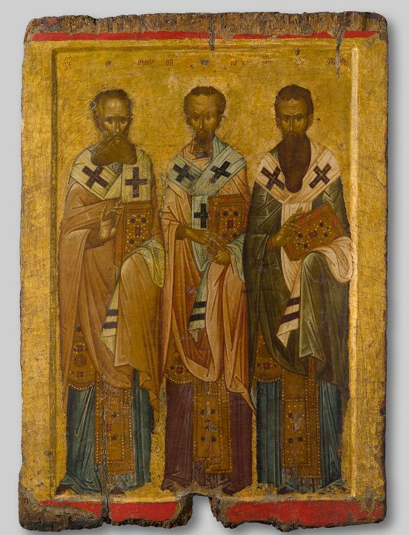 Icon of the three hierarchs, probably Thessaloniki, first half of 14th century, tempera and gold on wood, Athens, Byzantine and Christian Museum byzantine icon
