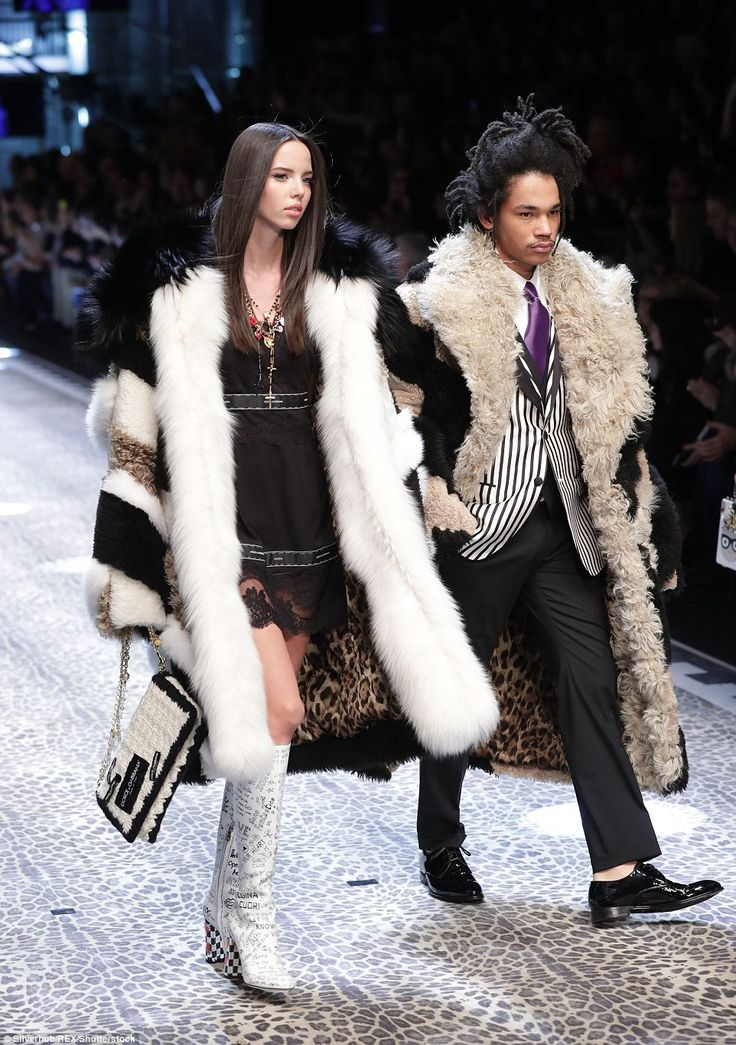 Fur goodness sake: Adriana Moira and Luka Sabbat walked for the Dolce and Gabbana collection