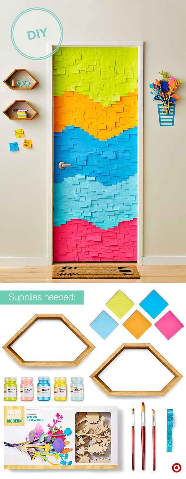 Go all out on your dorm room door with sticky notes used in a whole new way. Cover the door in your favorite colored Post-it notes. Then, hang a few wall shelves (with command hooks or strips) to the side. Stock with markers and extra Post-its for friends to write messages and doodles. Paint wooden flowers, use glue to hold it together, then hang it up using 3M command hooks and finally create a vase using Washi tape. Finish up with a fun door mat. How's that for a decked out door?
