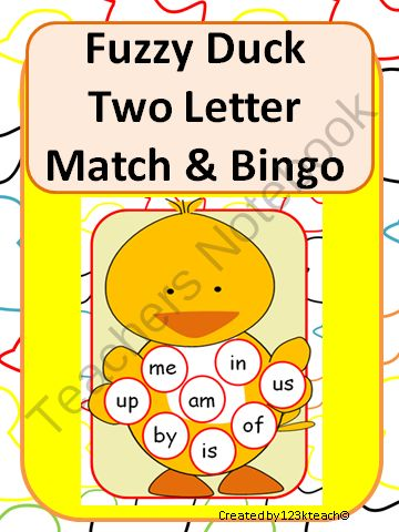 Fuzzy Duck Two Letter Word Match & Bingo from 123kteach on TeachersNotebook.com -  (15 pages)  - Students will have fun learning their two letter words with this adorable Fuzzy Duck Match. This makes a great literacy center or RTI activity for up to six students. You can also play a word bingo game with your students. There are a couple of cute recor