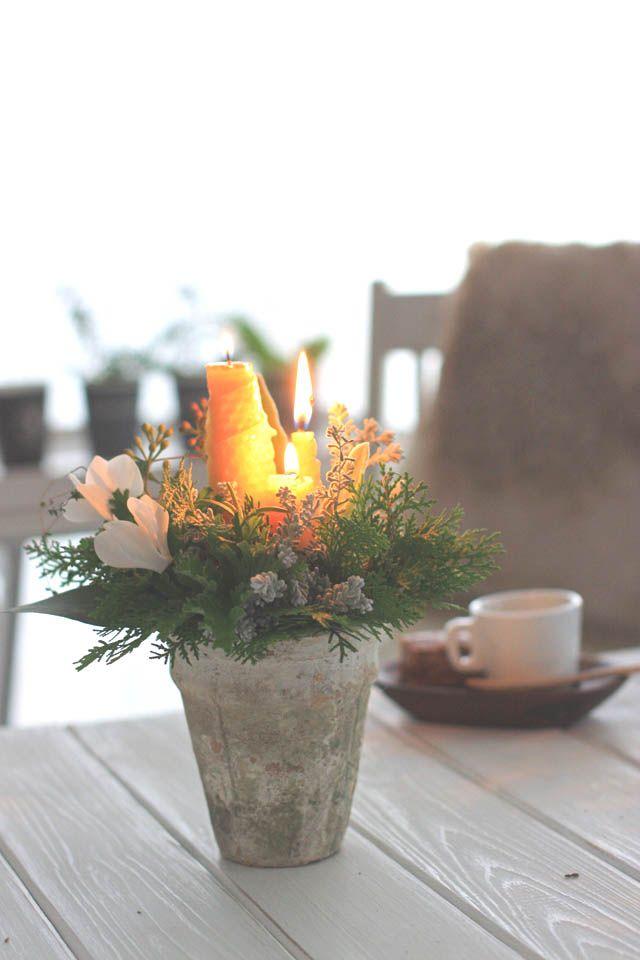 Beeswax candle table decoration , centerpieces : webマガジン「Klastyling 暮らす+スタイリング」様から 2013年12月18日「蜜蝋の手作りキャンドルとフレッシュグリーンのアレンジ」