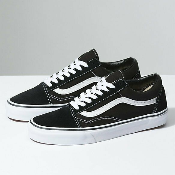 New Men women Vans Old Skool Black Skateboarding Shoes ...
