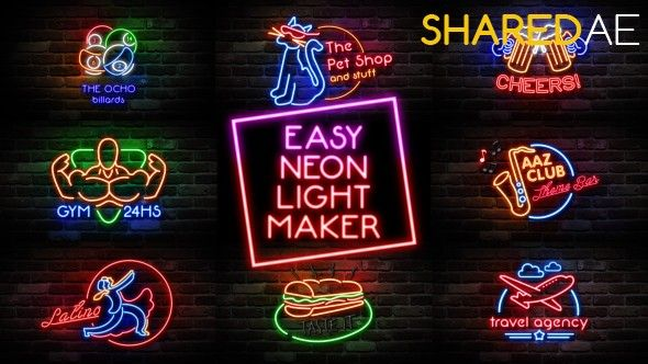 Videohive - Easy Neon Lights Maker 14350769 - Free Download
