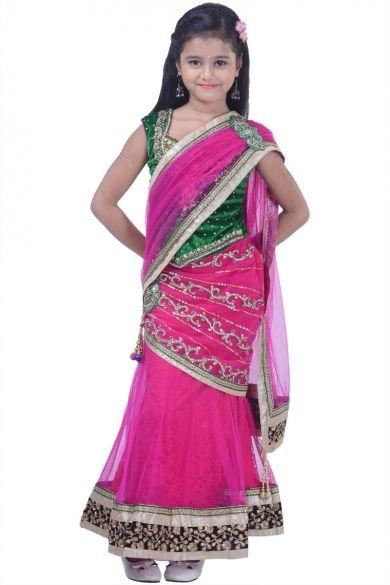 Deep Pink Net Embroidered Party and Festival Lehenga Style Saree Sku Code:343-4604KSA648348 $ 83.00