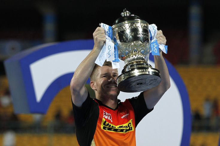 SRH skipper David Warner with IPL9 Trophy