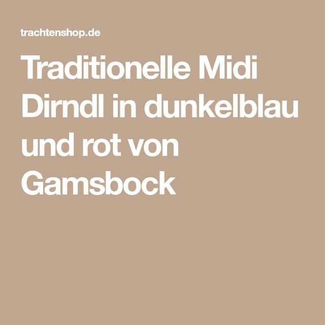 Traditionelle Midi Dirndl in dunkelblau und rot von Gamsbock