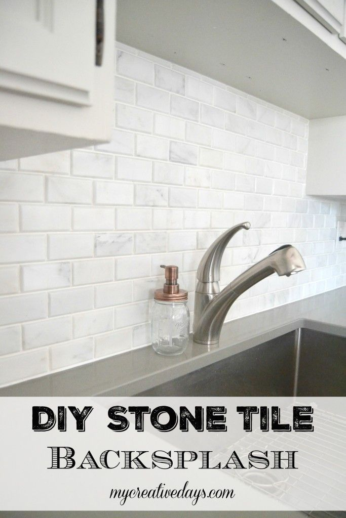 mycreativedays: Kitchen Makeover: DIY Stone Tile Backplash