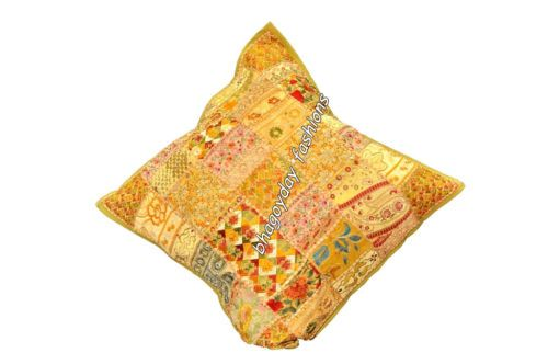 """India Handmade Patchwork Embroidery Cushion Cover Designer Kantha Style Squr 24"""""""