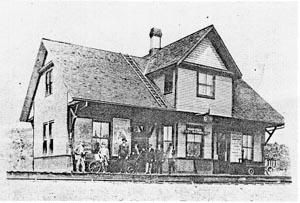 Built around 1900, the railway station was a busy place, as J. R. Booth's dream of a route to the Canadian West appeared to come true. In addition to train loads of logs and cut lumber, prairie wheat and passenger traffic rolled through, sometimes at a rate of 20 trains per day. The station was closed in late sixties and torn down in the seventies by contract with Jack Brown, who at that time was still distributing from his gas station, the parcels that came in by rail.