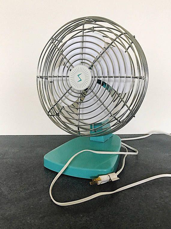 Vintage  Mid Century Fan  Aqua Blue Electric Fan  Small Desk