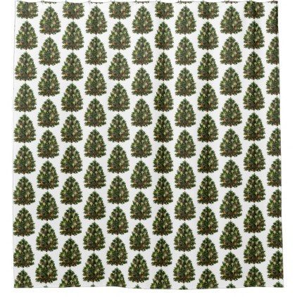 Decorated Victorian Christmas Tree Shower Curtain - white gifts elegant diy gift ideas