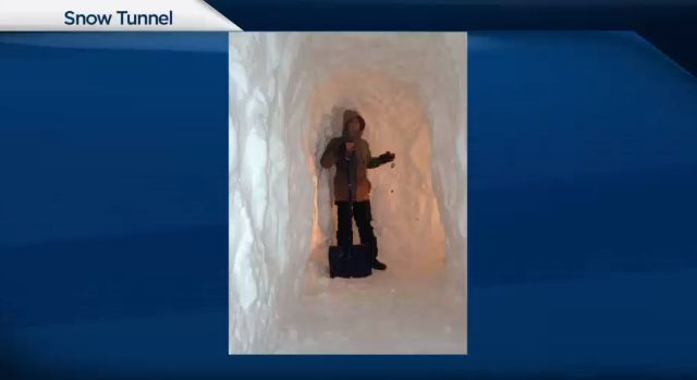 PEI man is forced to dig a giant snow tunnel to find his car