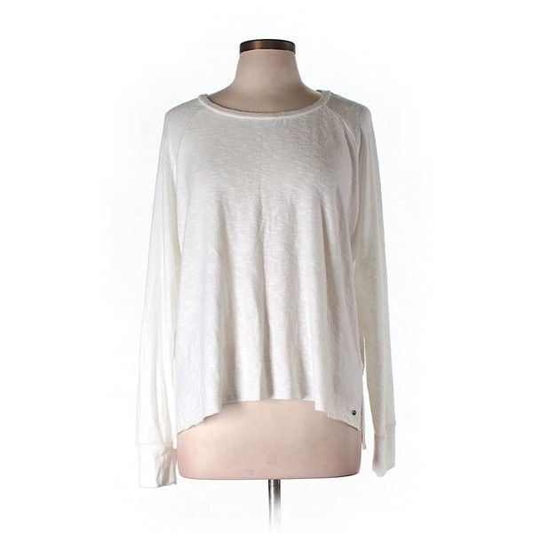 Pre-owned American Eagle Outfitters  Long Sleeve T Shirt ($16) ❤ liked on Polyvore featuring tops, t-shirts, ivory, white long sleeve t shirt, american eagle outfitters t shirts, ivory top, white top and white long sleeve top