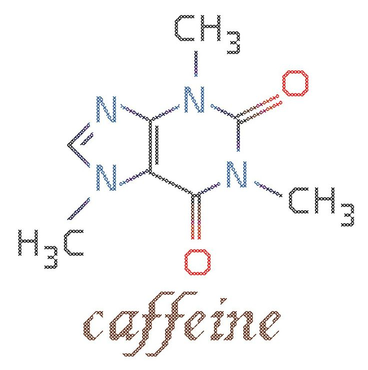 Caffeine Molecule Counted Cross Stitch Pattern PDF. $5.00, via Etsy.