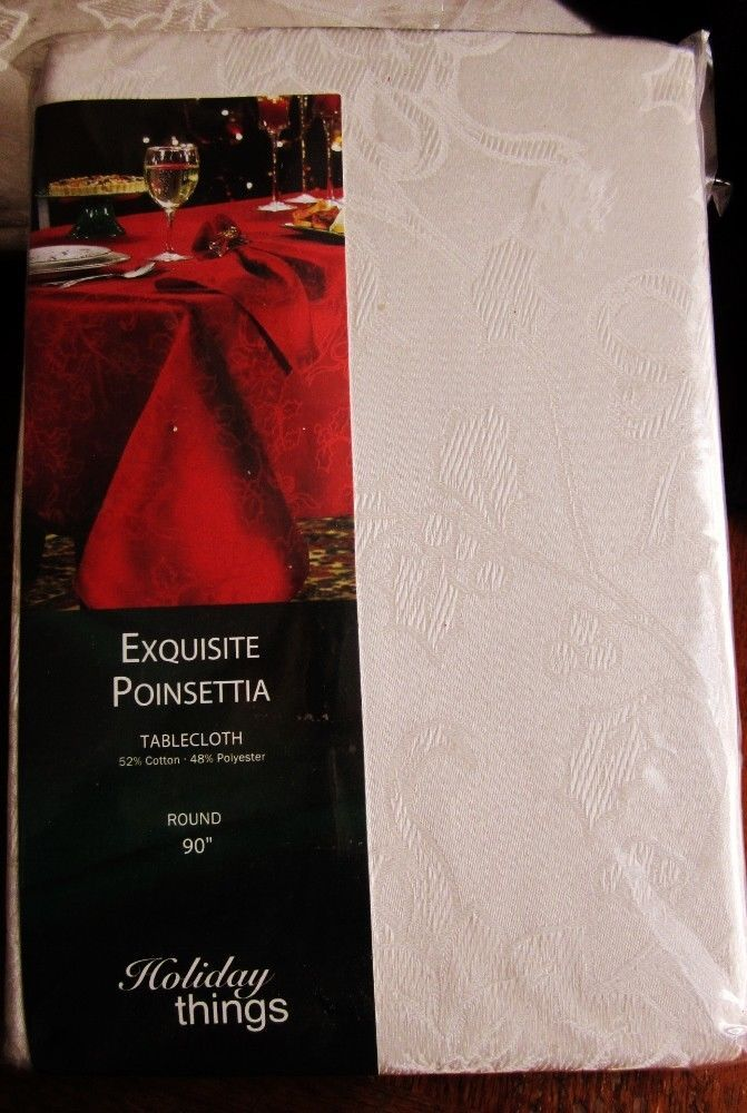 "Linens-N-Things 90"" Round Tablecloth NIP Cream Exquisite Poinsettia Damask NEW #LinensNThings"