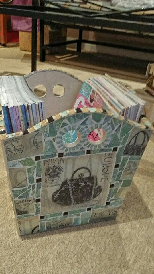 Magazine box - each side is different having either shoes or a handbag as the centre piece focus