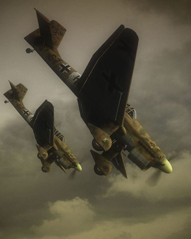 """the_ww2_memoirs Pictured above is a beautiful peace of artwork showing two Ju-87 """"Stuka"""" dive-bombers diving down during an attack sometime during the earlier years of the war. The Ju-87 """"Stuka"""" was an engineering marvel and was one of the most successful and effective dive-bombers of the war. During the invasion of Poland in September 1939 (this invasion would soon spark a war on global standards which would be named as the Second World War) the Ju-87 """"Stuka"""" reeked havoc on the enemy and…"""