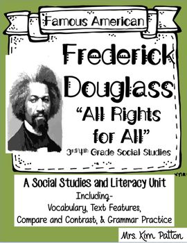 This FUN unit covers the Famous American Frederick Douglass.   Topics included about Frederick Douglass: life growing up as a slave and moving from one slave owner to another, learning to read, becoming an international speaker, abolitionist, writing an autobiography, meeting with Lincoln during Civil War, his death, and foldables to cover important vocabulary and character traits.