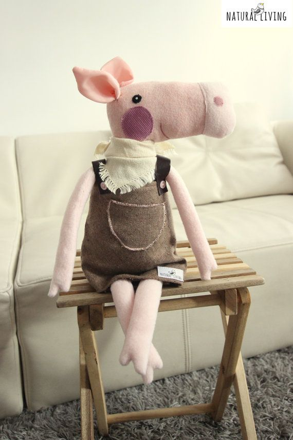 CUTE PIGGY PIG Peggy Sue in brown dress and by NATURALLIVINGpl