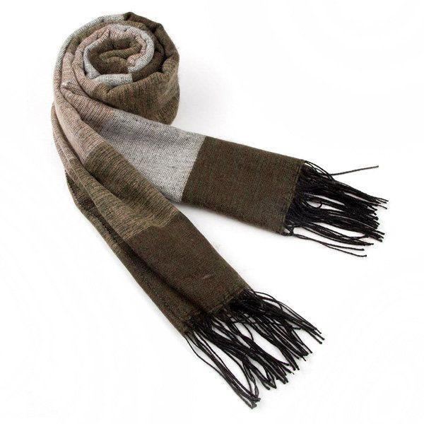 Mens Cashmere Imitation Super Stripe Warm Knitting Business Scarf at Banggood