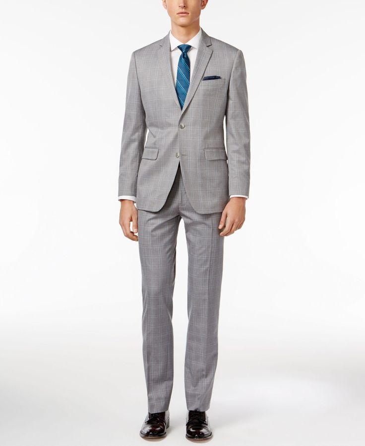 Perry Ellis Men's Slim-Fit Portfolio Light Gray Windowpane Comfort Stretch Suit