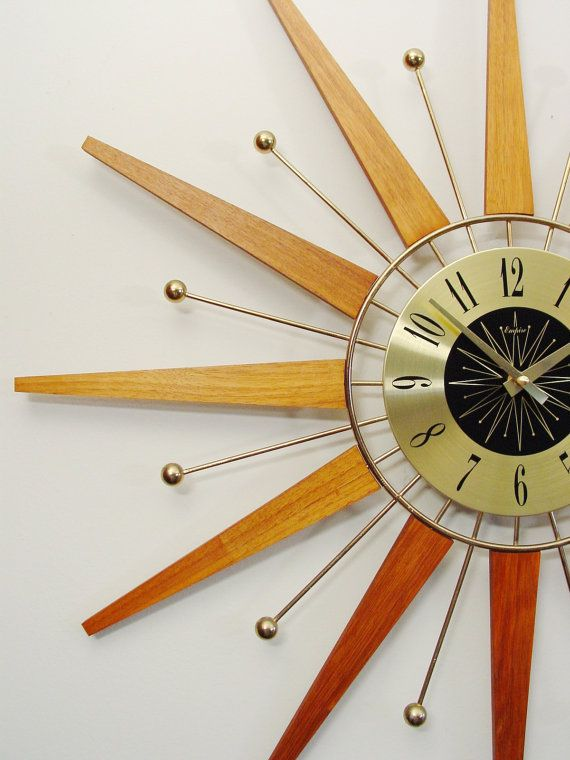 starburst wall clock mid century modern teak and brass