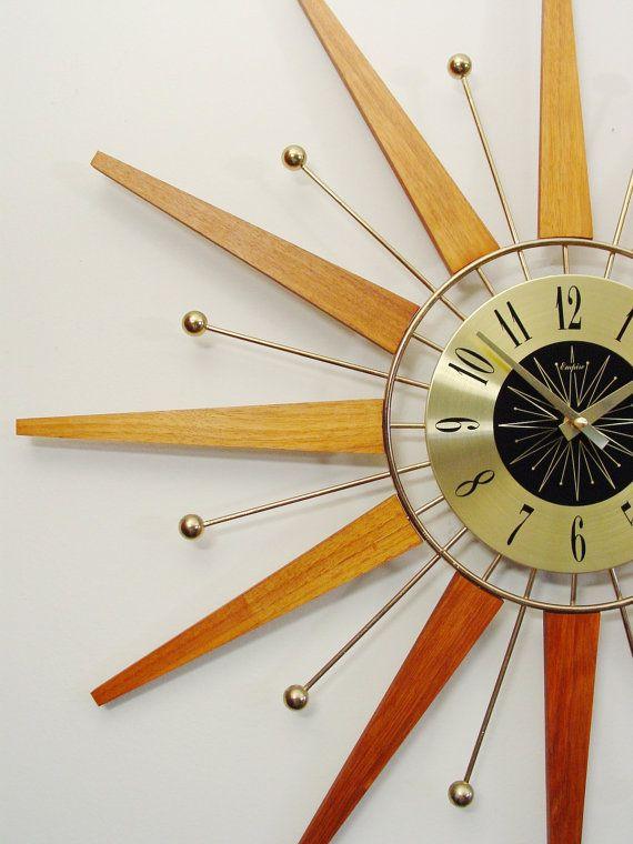 starburst wall clock mid century modern teak and brass